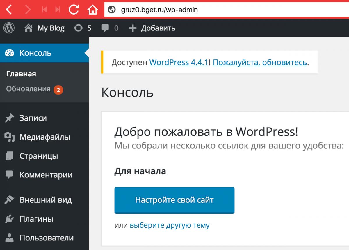 Проверяем работу WordPress
