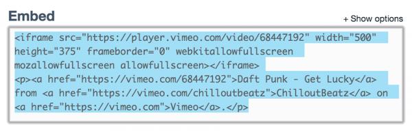 Копируем сформированный код видео