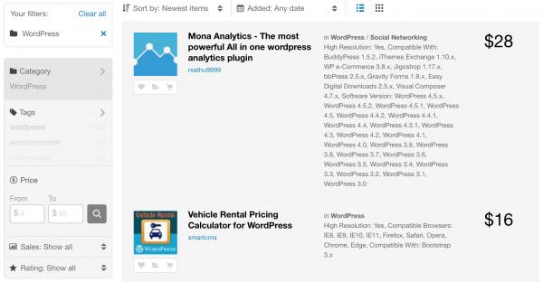 Пример премиального каталога плагинов для WordPress – CodeCanyon