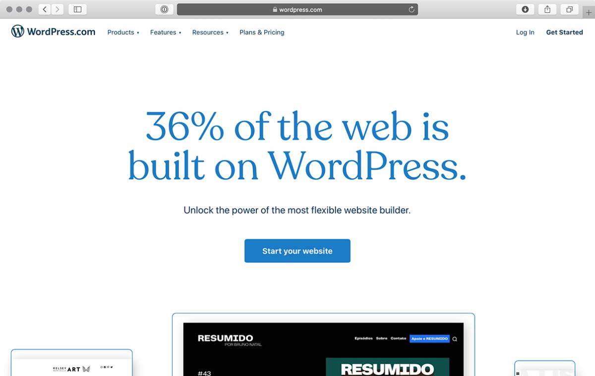 Главная страница wordpress.com